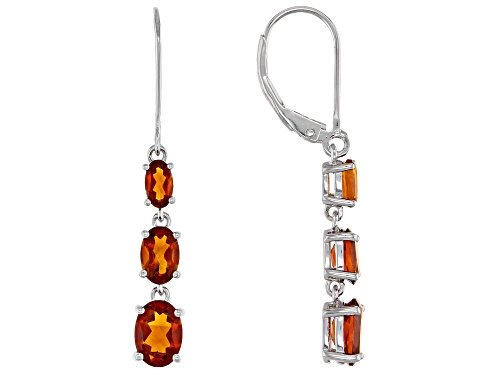 Photo of 2.35CTW OVAL MADEIRA CITRINE RHODIUM OVER STERLING SILVER DANGLE EARRINGS