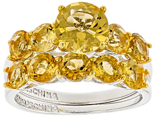Photo of 2.99ctw Round Brazilian Citrine Rhodium Over Sterling Silver 2 Ring Set - Size 6