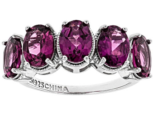 Photo of 4.25ctw Oval Raspberry Color Rhodolite Rhodium Over Sterling Silver Band Ring - Size 6