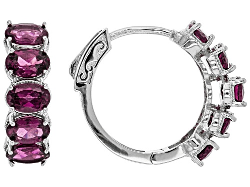 Photo of 5.90ctw Oval Raspberry Color Rhodolite Rhodium Over Sterling Silver Hoop Earrings