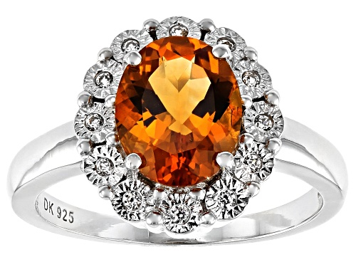 Photo of 1.96ct Oval Citrine With .14ctw Round White Zircon Rhodium Over Sterling Silver Halo Ring - Size 8