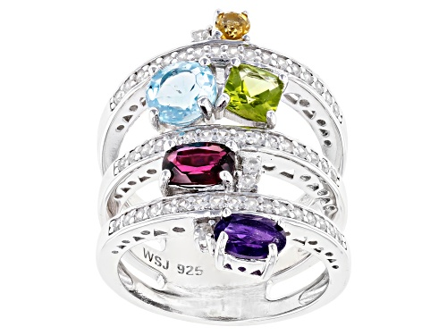 Photo of 2.60ctw Mixed Shape Multi-Gemstone with .78ctw Round White Zircon Rhodium Over Sterling Silver Ring - Size 7