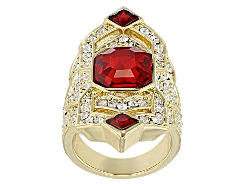 Photo of Off Park ® Collection White And Red Crystal Gold Tone Deco Ring - Size 6