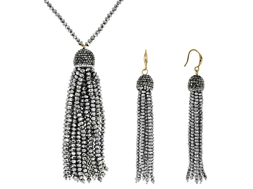 Photo of Off Park ® Multi Crystal And Silver Tone Crystal Bead Gold Tone Tassel Necklace And Earring Set