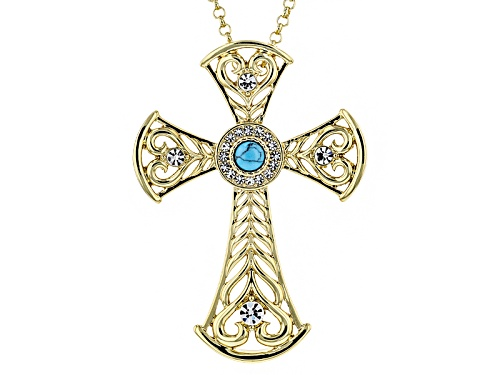 Photo of Off Park ® Collection White Crystal Turquoise Simulant Gold Tone Cross Pin/Pendant With Chain