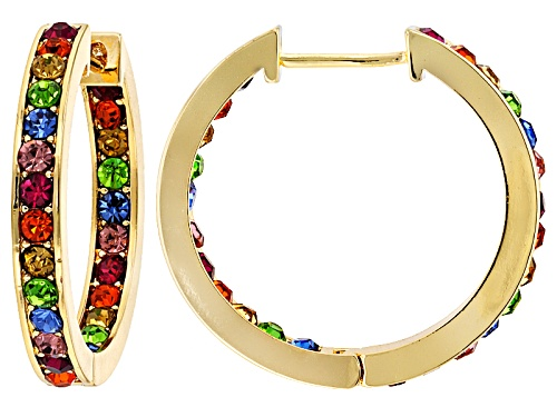 Photo of Off Park ® Collection Multicolor Crystal Gold Tone Hoop Earrings