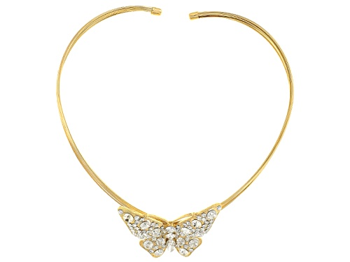 Photo of Off Park ® Collection White Crystal Gold Tone Butterfly Statement Necklace