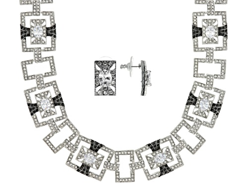 Photo of Off Park ® Collection Black And White Crystal Silver Tone Art Deco Necklace And Earring Set