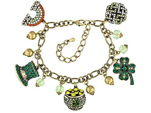 Photo of Off Park ® Collection Multicolor Crystal Antiqued Gold Tone Saint Patrick's Day Charm Bracelet