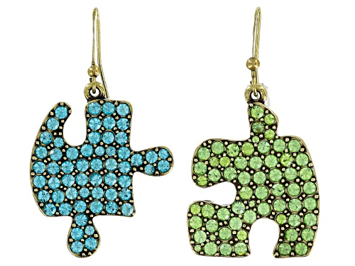 Photo of Off Park ® Collection Multicolor Crystal Antiqued Gold Tone Puzzle Piece Dangle Earrings