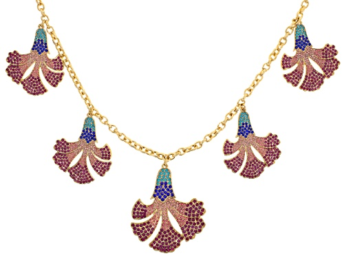 Photo of Off Park ® Collection Multicolor Crystal Gold Tone Floral Statement Necklace
