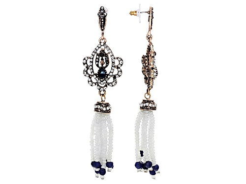 Off Park ® Collection Multicolor Crystal White Bead Antiqued Rose Tone Tassel Earrings