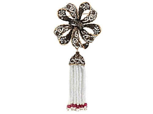 Photo of Off Park ® Colletion Multicolor Crystal White Bead Antiqued Rose Tone Bow Brooch