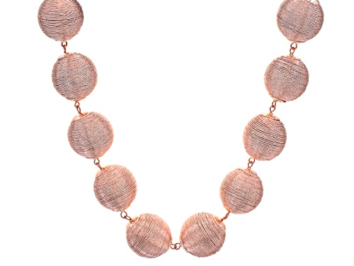 Photo of Off Park ® Collection Pink Metallic Textile Beads Rose Tone Statement Necklace