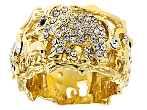 Photo of Off Park ® Collection White And Black Crystal Gold Tone Elephant Ring - Size 8