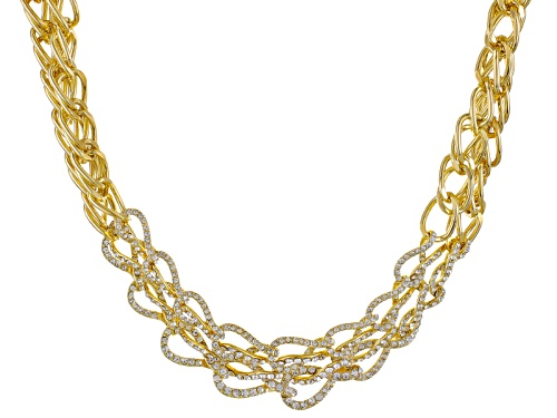 Photo of Off Park ® Collection White Crystal Gold Tone Multi Chain Statement Necklace