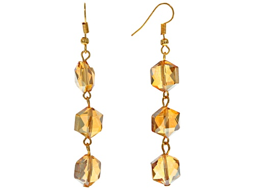 Photo of Off Park ® Collection Champagne Crystal Gold Tone Dangle Earrings