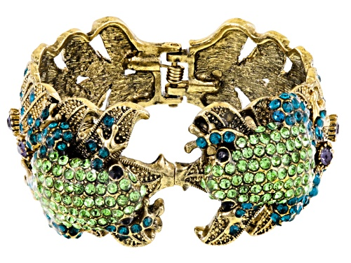 Off Park ® Collection Multicolor Crystal Antiqued Gold Tone Frog Cuff Bracelet