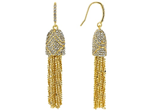 Photo of Off Park ® Collection White Crystal Gold Tone Tassel Earrings