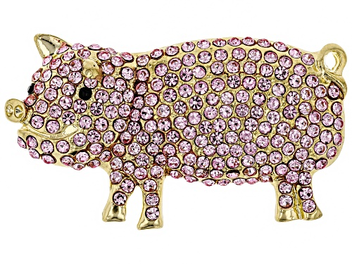 Photo of Off Park ® Collection Pink And Black Crystal Gold Tone Pig Brooch