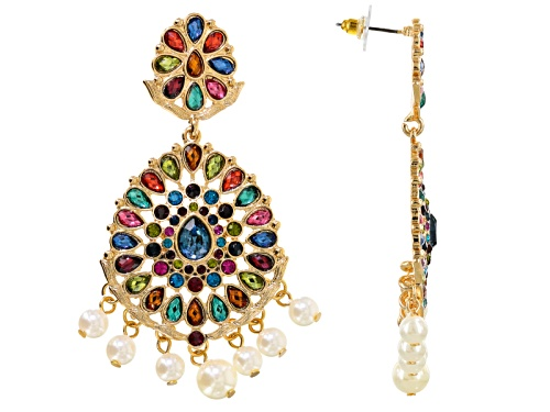 Photo of Off Park ® Collection Multicolor Crystal White Pearl Simulant Gold Tone Dangle Earrings