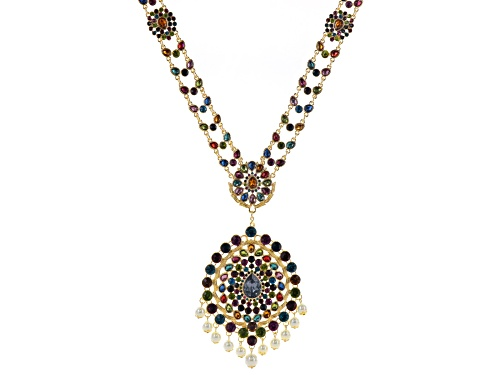 Photo of Off Park ®  Multi Crystal White Pearl Sim Gold Tone Statement Necklace W/ Removable Brooch