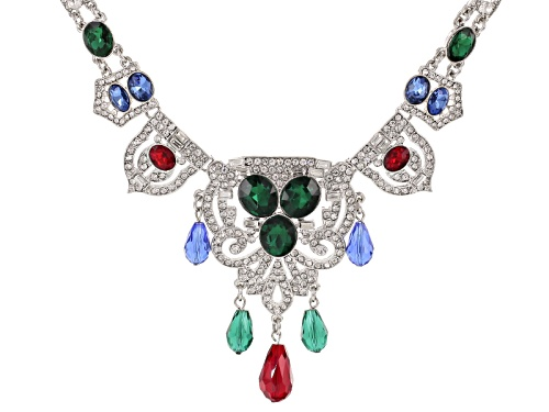 Photo of Off Park ® Collection Multicolor Crystal Silver Tone Art Deco Statement Necklace