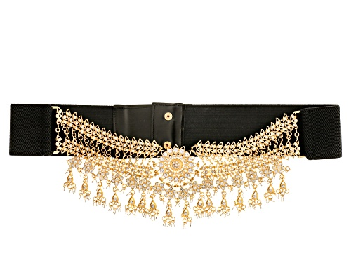 Off Park ® Collection White Crystal Gold Tone Large Statement Belt