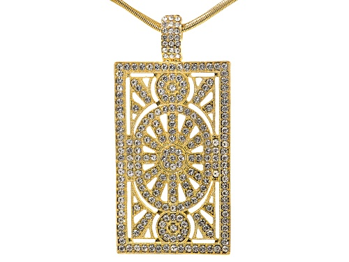 Photo of Off Park ® Collection, round white crystal, gold tone, magnetic enhancer pendant with chain.