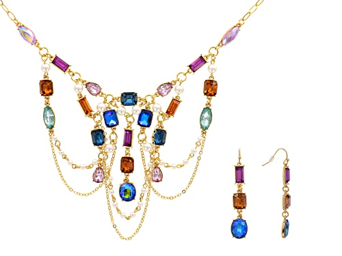 Photo of Off Park ® Collection Multicolor Crystal Gold Tone Necklace And Earring Set