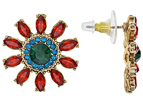 Photo of Off Park ® Collection Multicolor Crystal Gold Tone Flower Earrings