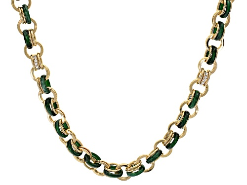 Photo of Off Park ® Collection white crystal green resin gold tone necklace.