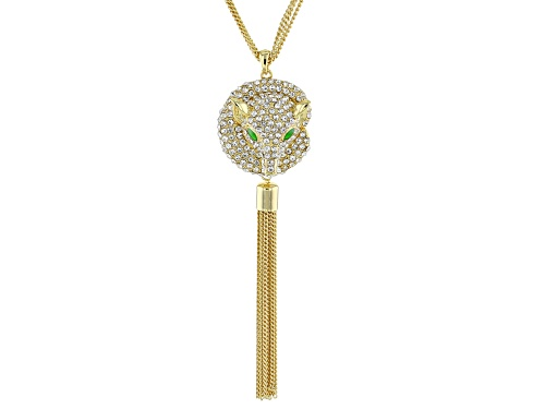 Photo of Off Park ® Collection white crystal green enamel gold tone fox necklace<br>