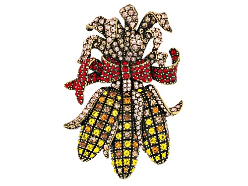 Photo of Off Park ® Collection multi color crystal antiqued gold tone harvest corn brooch