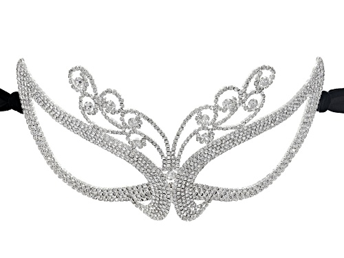 Photo of Off Park ® Collection White Crystal Silver Tone Masquerade Mask