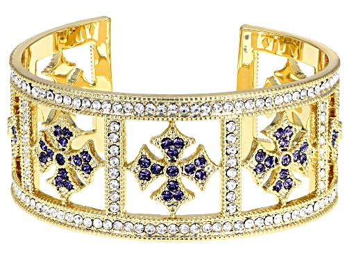 Photo of Off Park Collection™ gold tone round multi-color crystal cuff bracelet