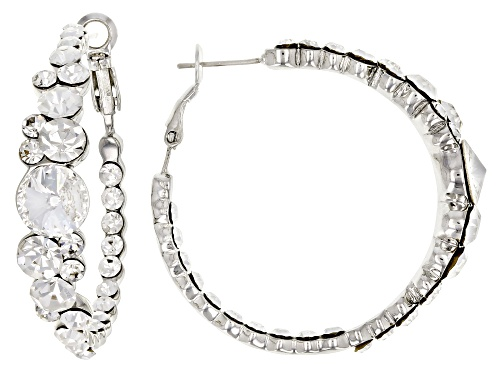 Photo of Off Park ® Collection White Crystal Silver Tone Hoop Earrings