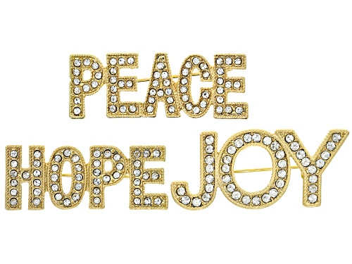 Photo of Off Park ® Collection Gold Tone White Crystal Hope, Joy and Peace Brooch Set Of 3