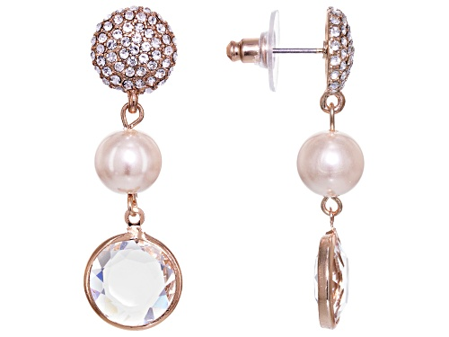Photo of Off Park ® Collection White Crystal Pink Pearl Simulant Rose Tone Dangle Earrings