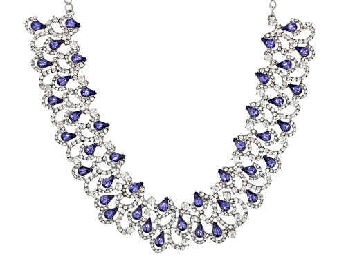 Photo of Off Park ® Collection Tanzanite Color Crystal, White Crystal Silver Tone Statement Necklace - Size 18
