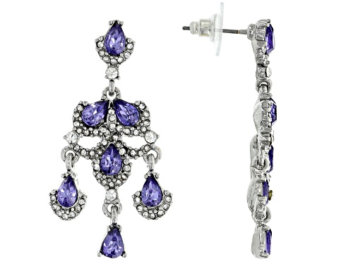 Photo of Off Park ® Collection Silver Tone Tanzanite Color Crystal Dangle Earrings