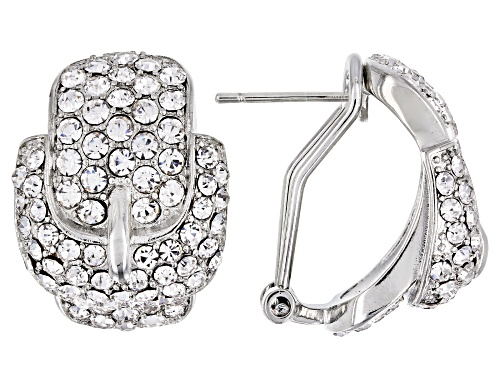 Photo of Off Park ® Collection White Crystal Silver Tone Belt Buckle Earrings