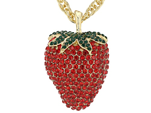 """Photo of Off Park ® Collection Red & Green Crystal Gold Tone """"Strawberry"""" Pin/Pendant With Chain - Size 34"""