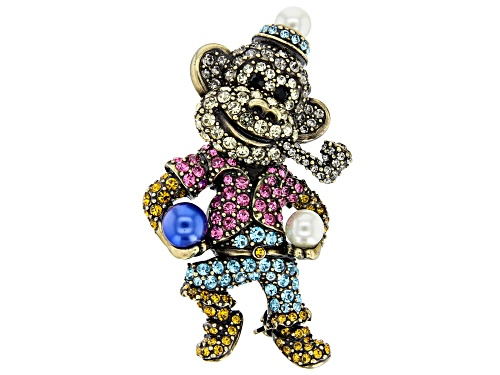 Photo of Off Park ® Collection Multicolor Crystal Antiqued Gold Tone Circus Monkey Brooch