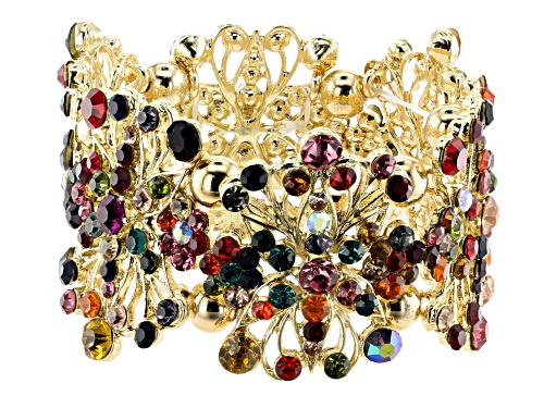 Photo of Off Park ® Collection Multicolor Crystal Gold Tone Floral Stretch Bracelet