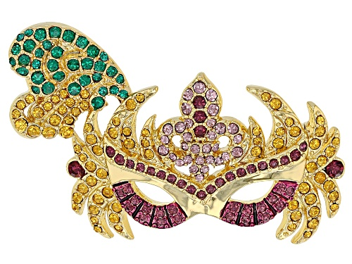 Photo of Off Park ® Collection Multicolor Crystal Gold Tone Mardi Gras Mask Brooch