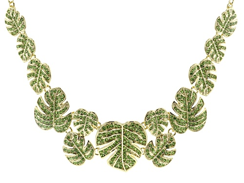 Photo of Off Park ® Collection  Green Crystal Gold Tone Leaf Statement Necklace
