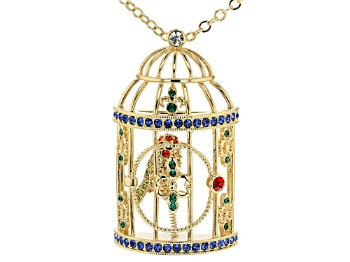 Photo of Off Park ® Collection Multicolor Crystal Gold Tone Bird Cage Necklace