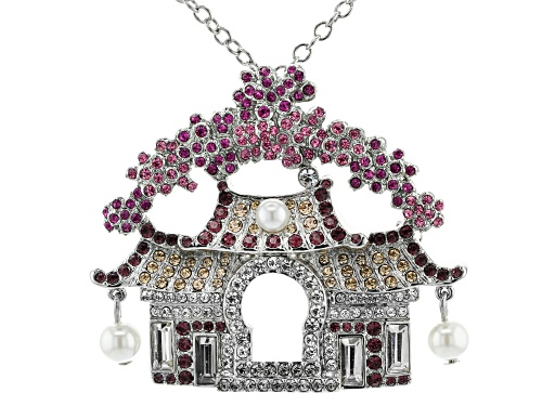 Photo of Off Park ® Collection Multicolor Crystal Silver Tone Japanese House Pin/Pendant With Chain