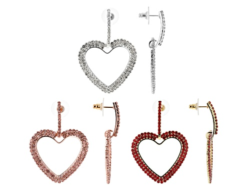 Photo of Off Park ® Collection Multicolor Crystal Tricolor Heart Dangle Earrings Set Of 3
